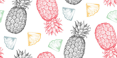Vector seamless pattern with hand drawn fresh fruits in sketch style. Ripe pineapples and slices.