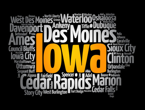 List of cities in Iowa USA state, map silhouette word cloud, map concept background