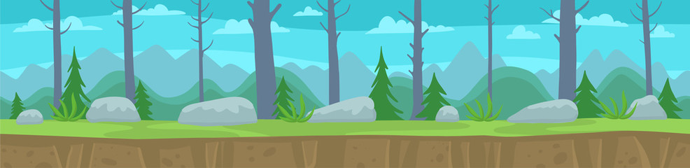 Landscape with a forest trees and mountains. Seamless pattern. Unending vector flat layers. Parallax ready. Game background.