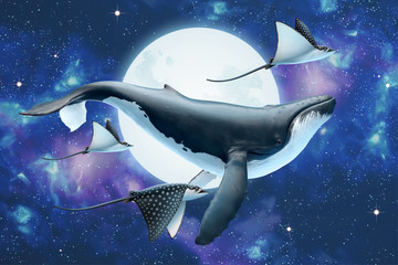 Whale flying through the moon