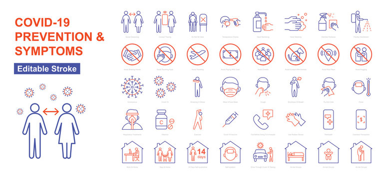 COVID-19 Prevention And Symptoms - Thin Line Icons Set. Editable Stroke. Vector Illustration Flat Design.