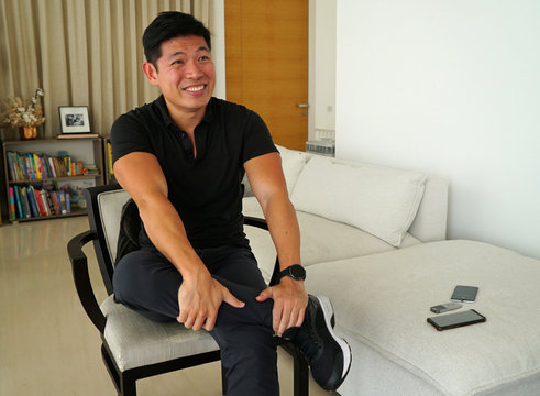 Grab CEO Anthony Tan speaks during an interview at his home in Singapore