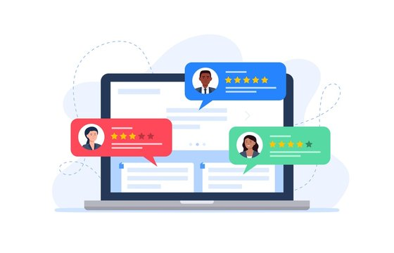 Feedback customers review on a laptop monitor. People evaluating product, service. Website rating feedback concept. Trendy vector flat illustration.