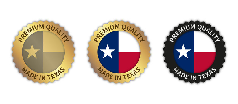 """Set of 3 """"Made in Texas"""" vector icons. Illustration with transparent background. State flag encircled with gold/black stamp. Sticker/logo for product/website."""