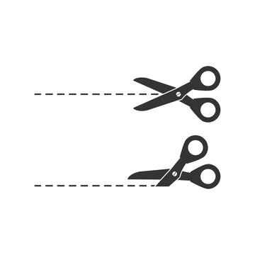 Open scissor with cut lines icon in white background