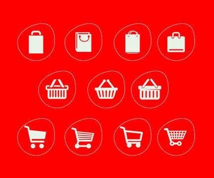 Ecommerce icon market basket icon white