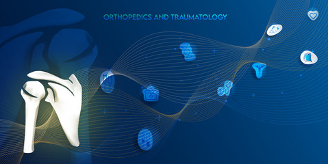 Technology for treatment of shoulder bone. Abstract traumatology and orthopedics. Medical science in the hospital for body joints.