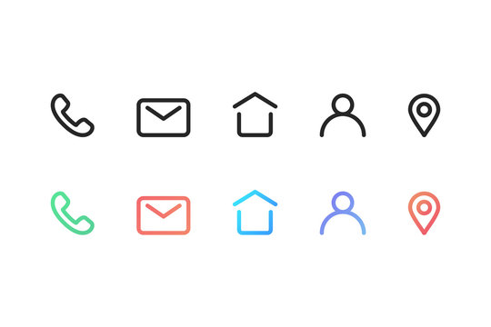 Set of contact icons in black outline design on transparent background. Isolated gradient colorful  icons of phone, mail, location pin and account sign. Contact us collection in black and gradient.