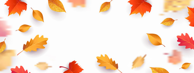 Autumn seasonal background with border frame with falling autumn golden, red and orange colored leaves on white background with place for text. Hello autumn vector illustration Wall mural
