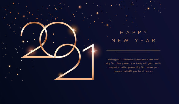 Luxury 2021 Happy New Year background. Golden design for Christmas and New Year 2021 greeting cards with New Year wishes