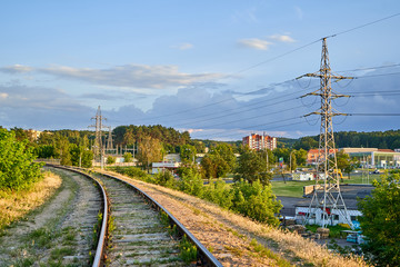 Railroad tracks in the suburbs of the city