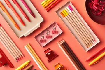 Set of colorful school stationery
