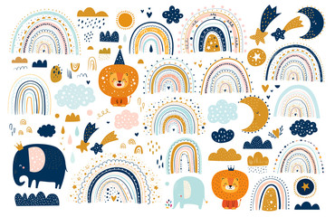 Fototapete - Abstract doodles. Baby animals pattern. Fabric pattern. Vector illustration with cute animals. Nursery baby pattern illustration