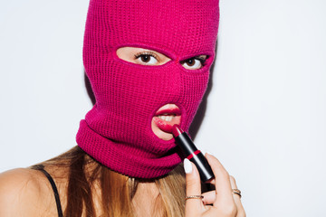 Masked woman with lipstick