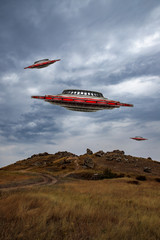 landscape with unidentified flying saucers. 3d model of a ufo in the sky. illustration