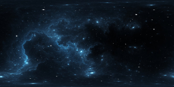 360 degree space background. Mysterious structures of the interstellar molecular clouds. Extreme deep field. Panorama, environment 360° HDRI map. Equirectangular projection