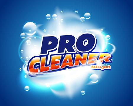 Laundry detergent product packaging design. Liquid soap powder or fabrick softener vector packaging template. Antibacterial detergent design