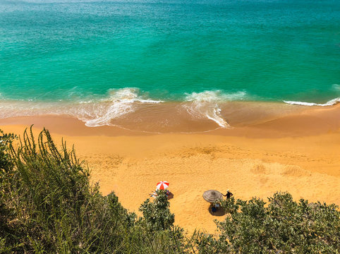 The famous sandy beach in Albufeira, Algarve, Portugal