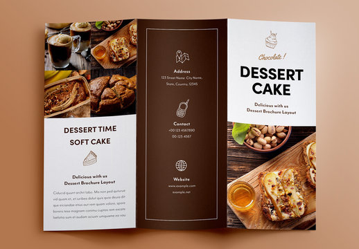Dessert Menu Trifold Brochure Layout