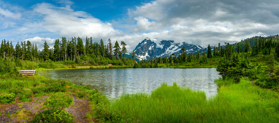 Picture Lake is the centerpiece of a strikingly beautiful landscape in the Heather Meadows area of Mt. Baker, WA. Picture Lake is one of the most photographed mountain scenes in North America.