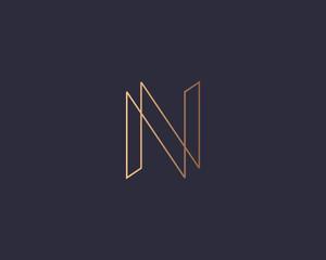 Abstract gradient linear monogram letter N logo icon design modern minimal style illustration. Premium alphabet vector line emblem sign symbol mark logotype