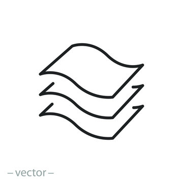 3 layers icon, structure material fabric, texture properties, thin line symbol on a white background, editable stroke vector illustration eps10