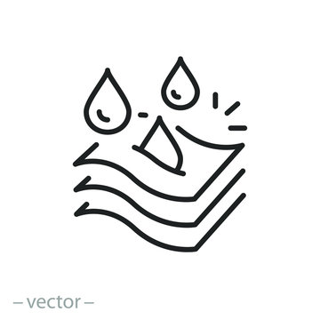 three layers fabric icon, moisture absorbing, absorption properties, thin line symbol on a white background, editable stroke vector illustration eps10