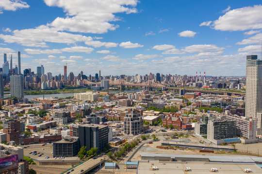 Aerial view of Manhattan and bridge from Long Island city
