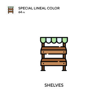 Shelves special lineal color vector icon. Shelves icons for your business project