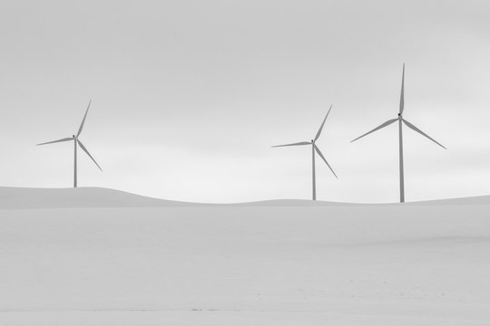 Windmills in Snow Covered Fields in Winter
