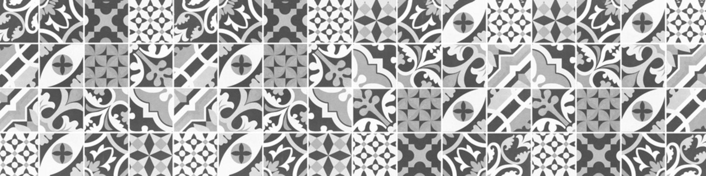 Gray grey anthracite white abstract vintage retro geometric square mosaic motif tiles texture background banner panorama