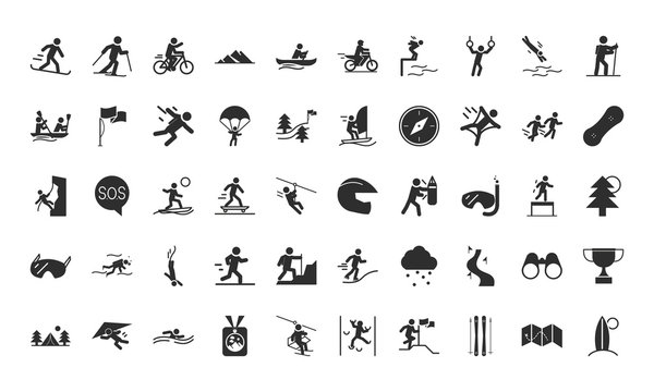 extreme sport active lifestyle silhouette icons set design