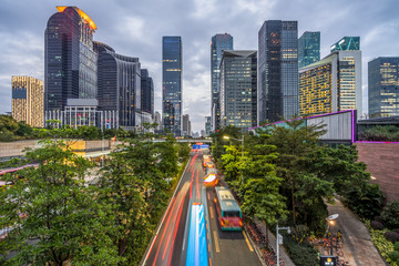 Fotomurales - busy urban traffic of shenzhen downtown district in china