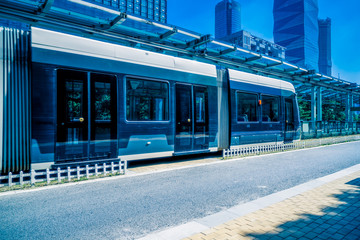 Fotomurales - driving tramcar at sunny day, nanjing city.
