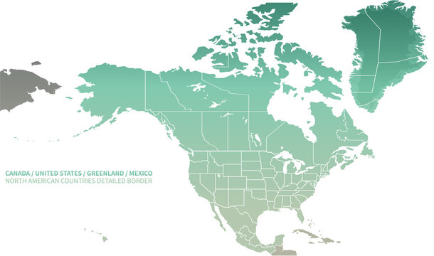 North American Countries Map.  The main boundary map of Canada, the United States, Greenland, and Mexico.