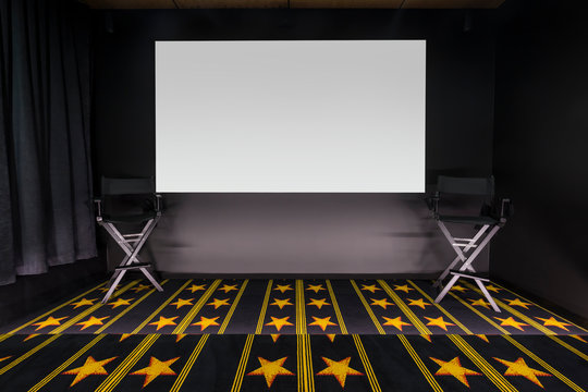 Home cinema with star carpet and movie director chairs