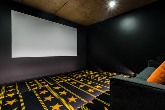 Home cinema theatre room with star carpet