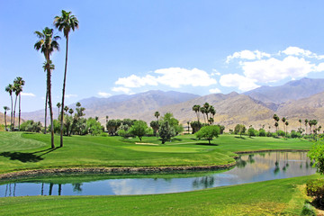 Green oasis in the desert - Golf course with palm trees and pond / river in Palm Spring. Wall mural