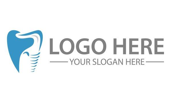 Modern elegant Negative Space Blue elephant Screw Tooth dental Clinic logo design
