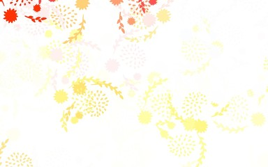 Light Orange vector abstract design with flowers, roses.