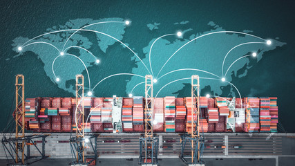 Obraz Business Logistics concept, Global network coverage world map,Truck with Industrial Container Cargo for Logistic Import Export at yard  - fototapety do salonu