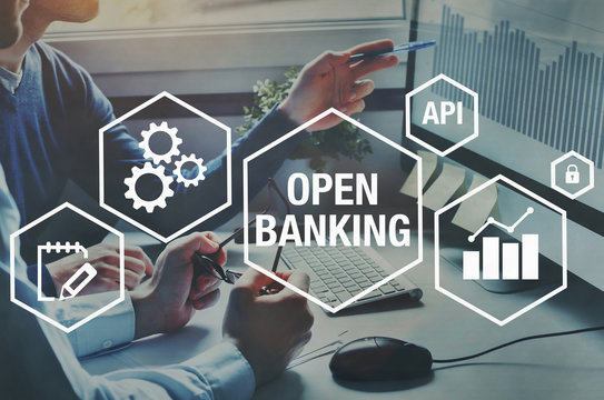 open banking concept diagram, api financial technology, fintech