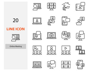 set of video conference icons, online meeting, work at home, online education
