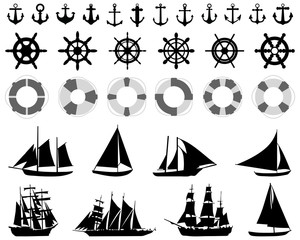 Icons  of anchores, rudders, lifebelt, sailboats on a white background