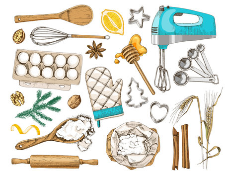 Set of baking ingredients and kitchen utencils