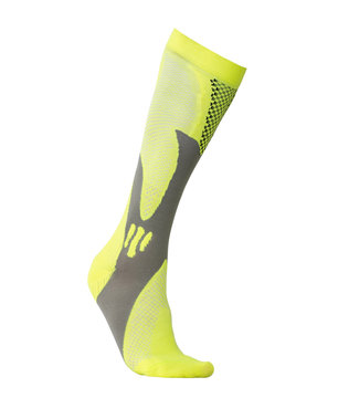 Yellow high athletic sock on white background