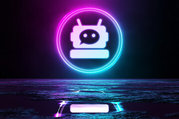 Digital chatbot holographic icon illuminating the floor with blue and pink neon light 3D rendering Wall mural