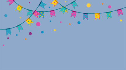 Festival flag garlands with colorful confetti. Three strings with flags hanging from above. Upper frame for banners. Flat vector illustration
