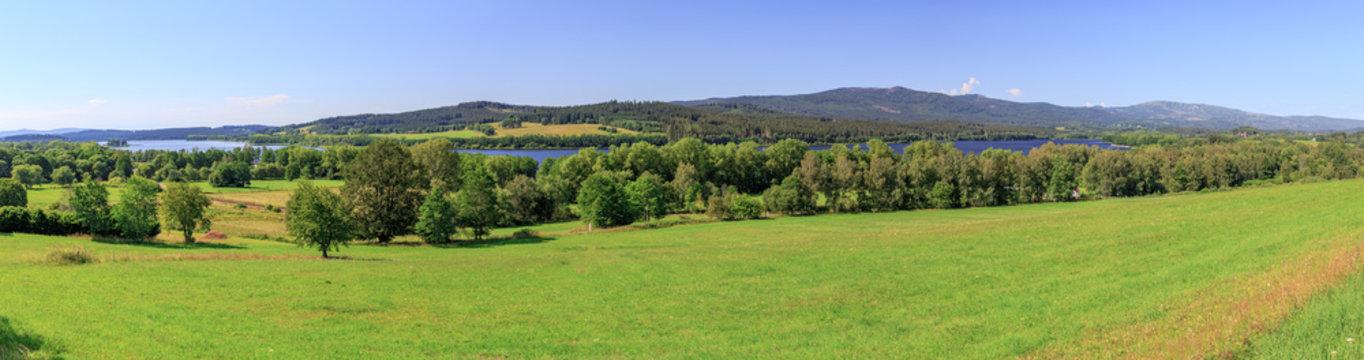 Panoramic view of Lake Lipno in Horni Plana at the natural preserve Sumava in Bohemia