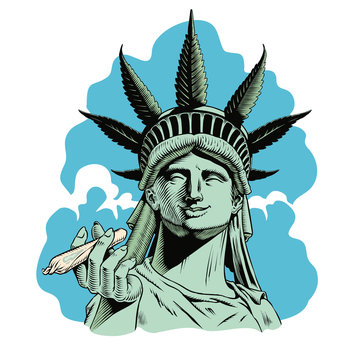 Statue of liberty with hemp leaf holding a rolled joint. Legalize marijuana concept print. Comic style vector illustration.